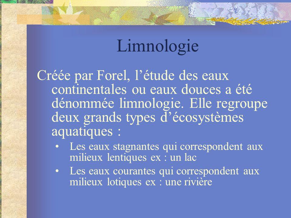 Limnologie Créée par Forel, létude des eaux continentales ou eaux douces a été dénommée limnologie. Elle regroupe deux grands types décosystèmes aquat