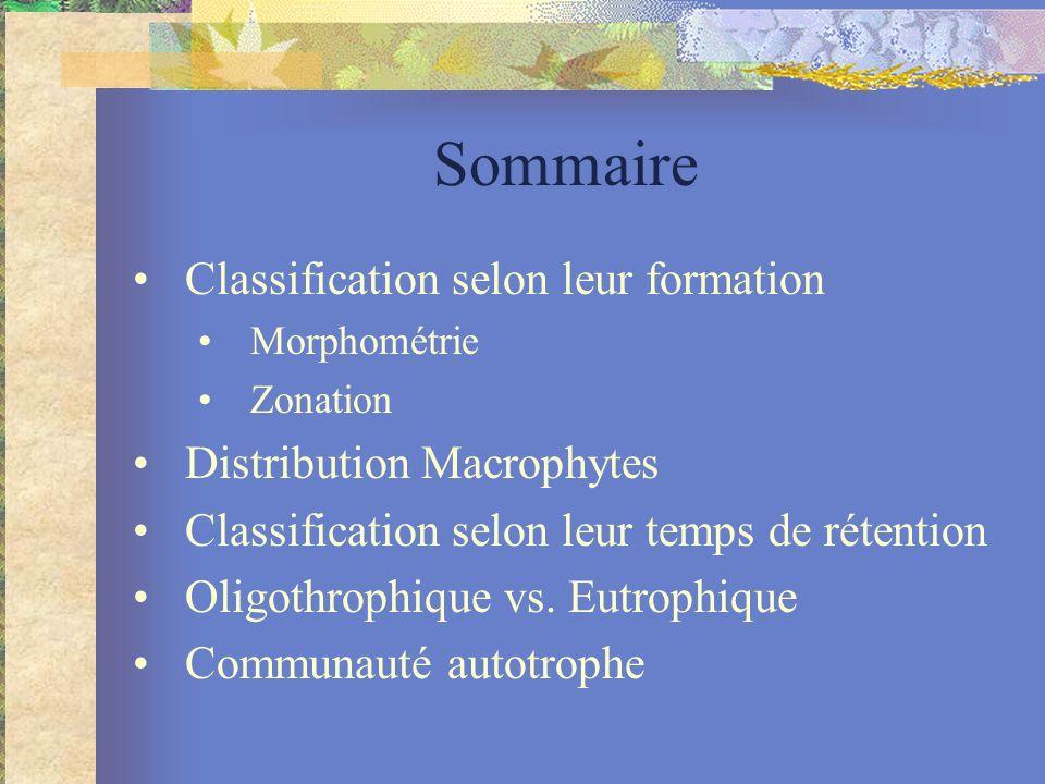 Sommaire Classification selon leur formation Morphométrie Zonation Distribution Macrophytes Classification selon leur temps de rétention Oligothrophique vs.