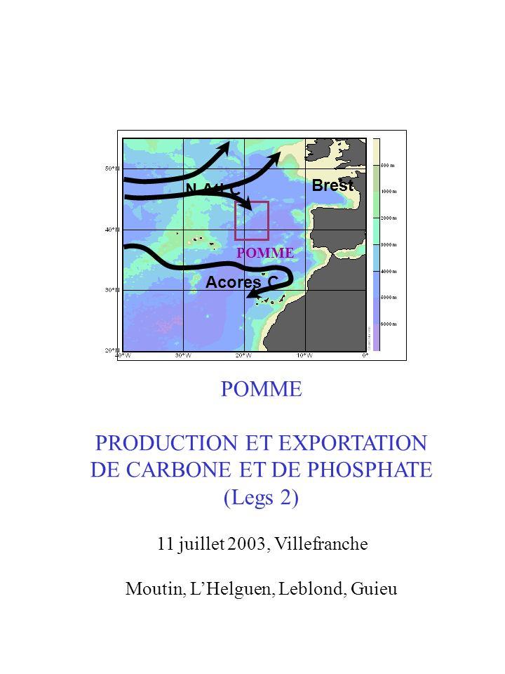 POMME PRODUCTION ET EXPORTATION DE CARBONE ET DE PHOSPHATE (Legs 2) 11 juillet 2003, Villefranche Moutin, LHelguen, Leblond, Guieu POMME N.Atl.C Acore