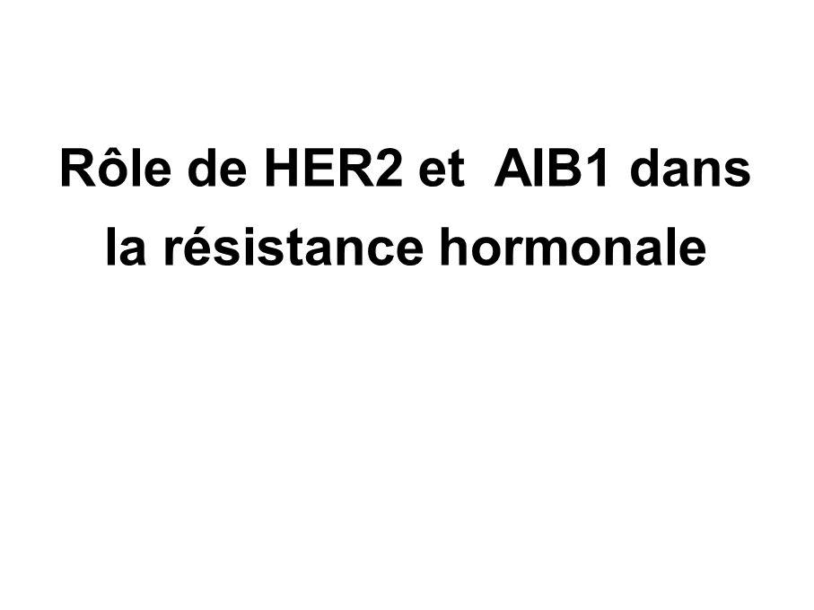 HER2 et AIB1 expression /DFS Osborne CK, J Natl Cancer Inst, 2003 187 pts, N+ BK, tam AIB1 and HER2 (WB), RE (LBA) Suivi median 95 mois DFS diminué si HER2 et AIB1 sont surexprimés