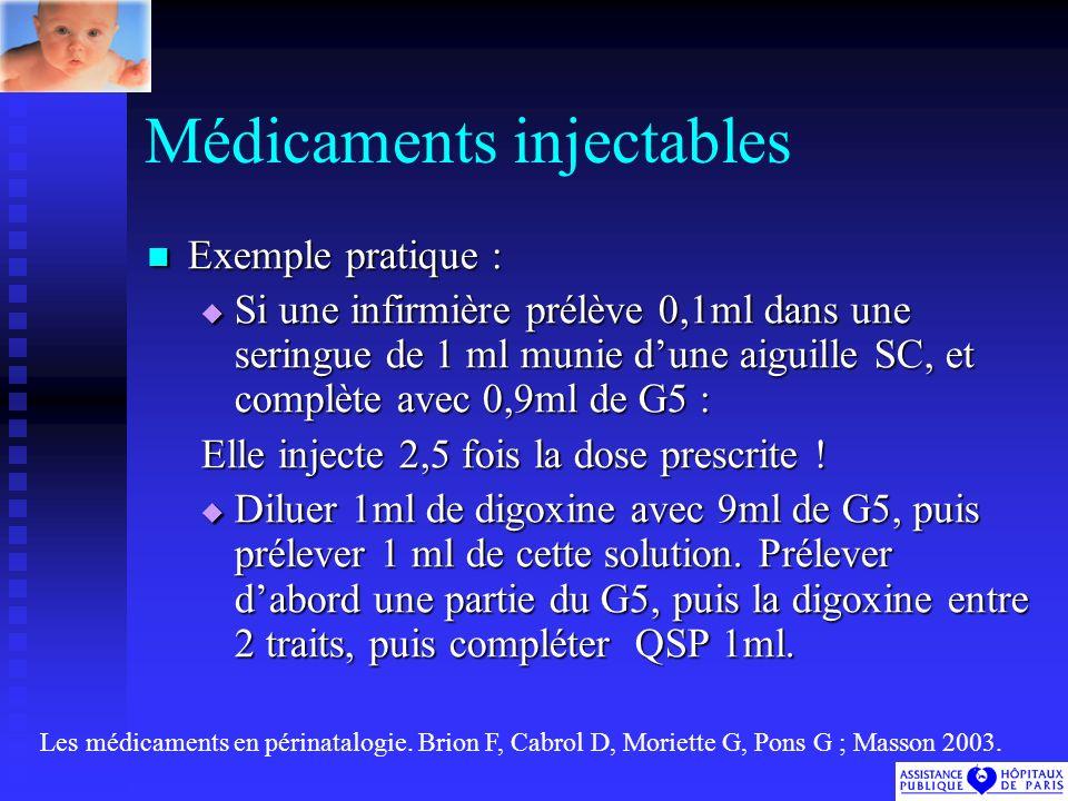 Médicaments injectables Exemple pratique : Exemple pratique : Si une infirmière prélève 0,1ml dans une seringue de 1 ml munie dune aiguille SC, et complète avec 0,9ml de G5 : Si une infirmière prélève 0,1ml dans une seringue de 1 ml munie dune aiguille SC, et complète avec 0,9ml de G5 : Elle injecte 2,5 fois la dose prescrite .