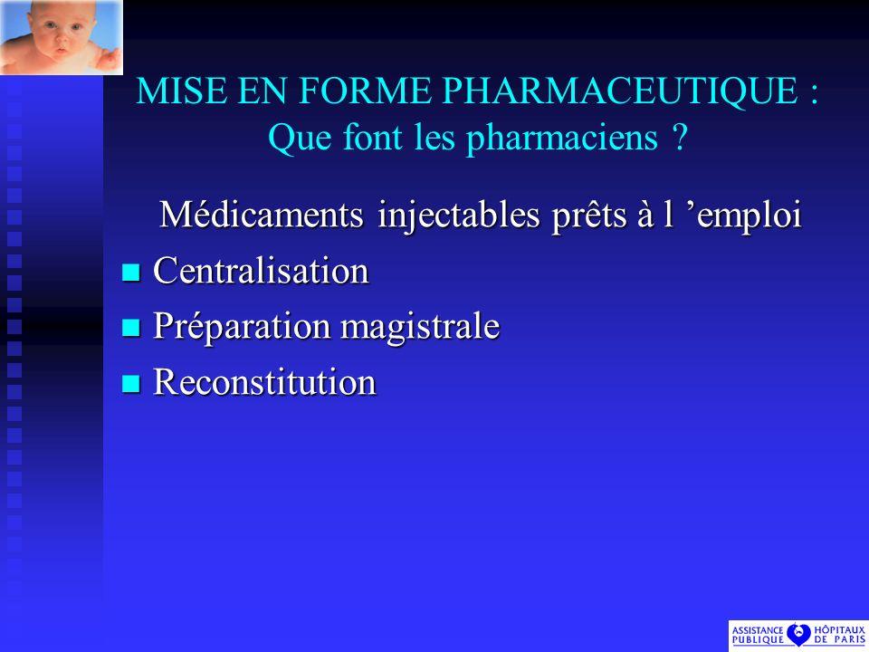 MISE EN FORME PHARMACEUTIQUE : Que font les pharmaciens .