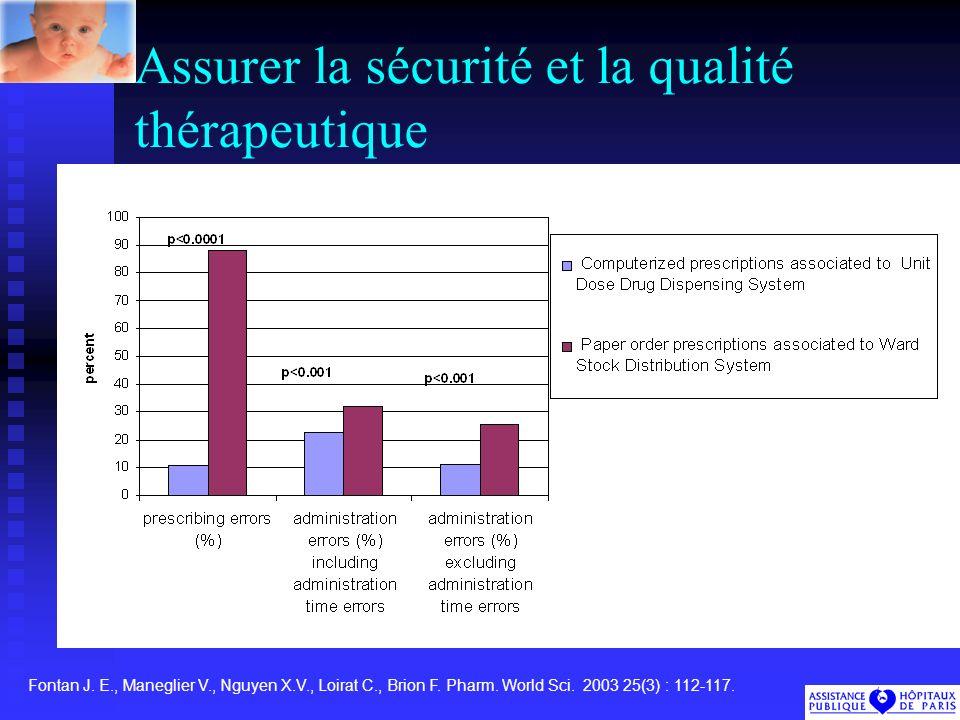 Assurer la sécurité et la qualité thérapeutique Fontan J.