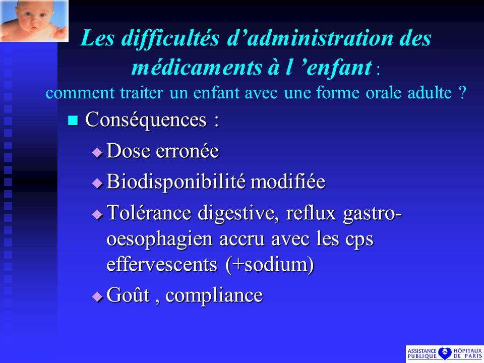 Les difficultés dadministration des médicaments à l enfant : comment traiter un enfant avec une forme orale adulte .