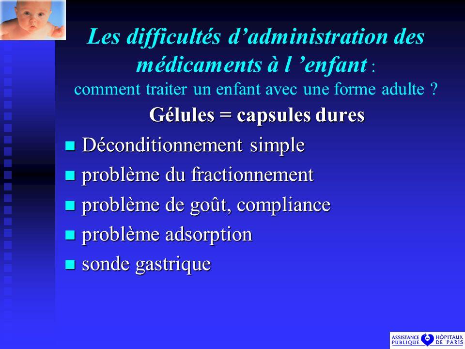 Les difficultés dadministration des médicaments à l enfant : comment traiter un enfant avec une forme adulte .