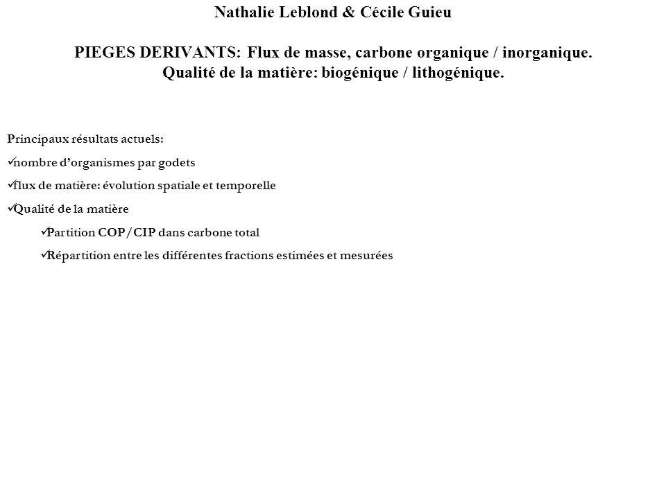 Nathalie Leblond & Cécile Guieu PIEGES DERIVANTS: Flux de masse, carbone organique / inorganique. Qualité de la matière: biogénique / lithogénique. Pr