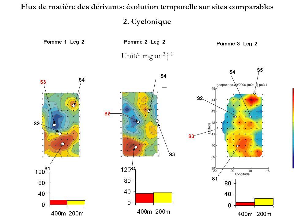 S3 S1 S2 S4 Pomme 1Leg2 S3 S4 Pomme 2Leg2 S1 S2 Pomme 3Leg2 S1 S2 S3 S4 S5 Unité: mg.m -2.j -1 Flux de matière des dérivants: évolution temporelle sur