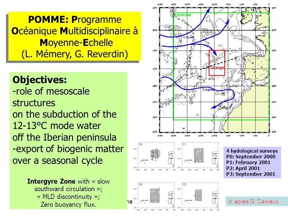 séminaire MIO 5 X 201214 POMME: Programme Océanique Multidisciplinaire à Moyenne-Echelle (L. Mémery, G. Reverdin) POMME: Programme Océanique Multidisc