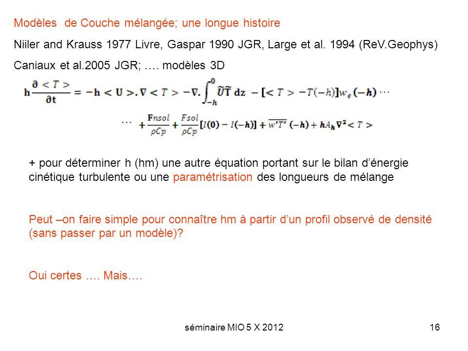 séminaire MIO 5 X 201216 Modèles de Couche mélangée; une longue histoire Niiler and Krauss 1977 Livre, Gaspar 1990 JGR, Large et al. 1994 (ReV.Geophys