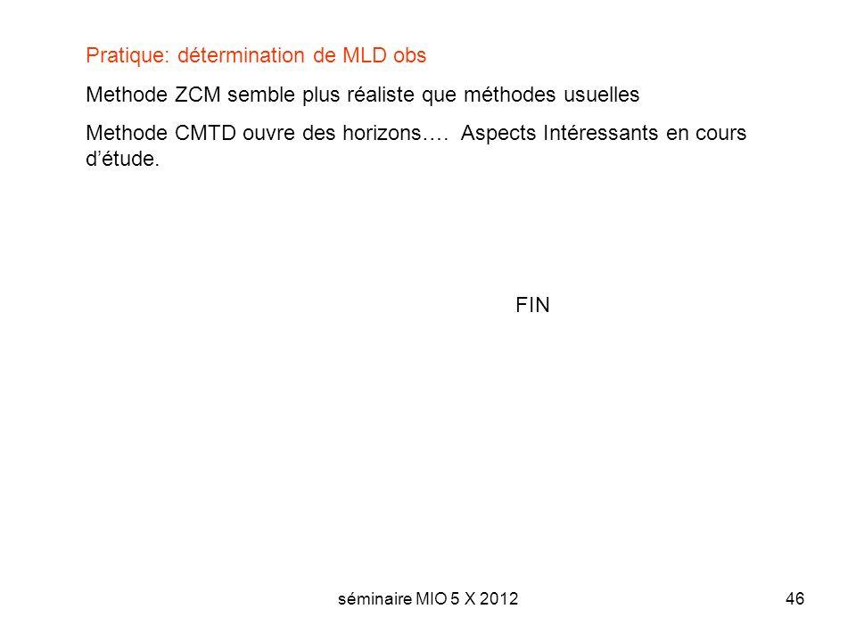 séminaire MIO 5 X 201246 FIN Pratique: détermination de MLD obs Methode ZCM semble plus réaliste que méthodes usuelles Methode CMTD ouvre des horizons….