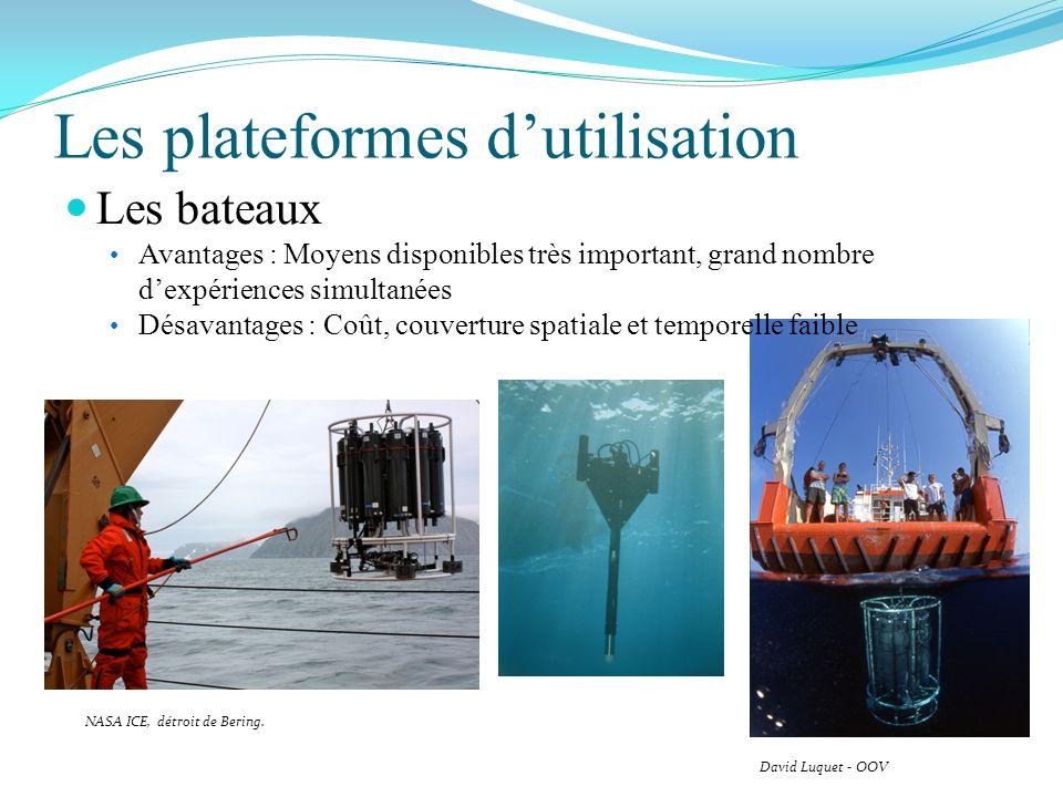 Les plateformes dutilisation David Luquet - OOV NASA ICE, détroit de Bering. Les bateaux Avantages : Moyens disponibles très important, grand nombre d