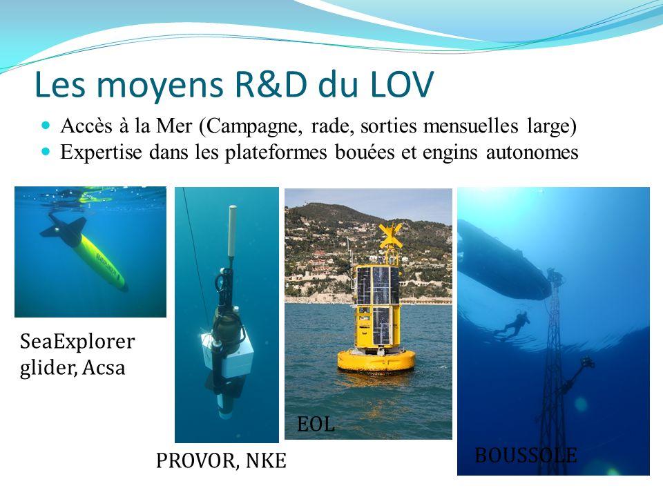 Les moyens R&D du LOV Accès à la Mer (Campagne, rade, sorties mensuelles large) Expertise dans les plateformes bouées et engins autonomes SeaExplorer