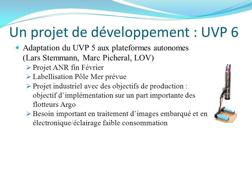 Un projet de développement : UVP 6 Adaptation du UVP 5 aux plateformes autonomes (Lars Stemmann, Marc Picheral, LOV) Projet ANR fin Février Labellisat