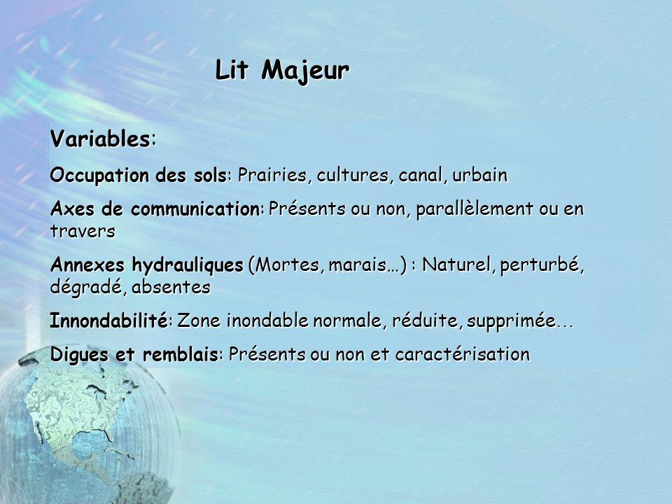Lit Majeur Variables: Occupation des sols: Prairies, cultures, canal, urbain Axes de communication: Présents ou non, parallèlement ou en travers Annex