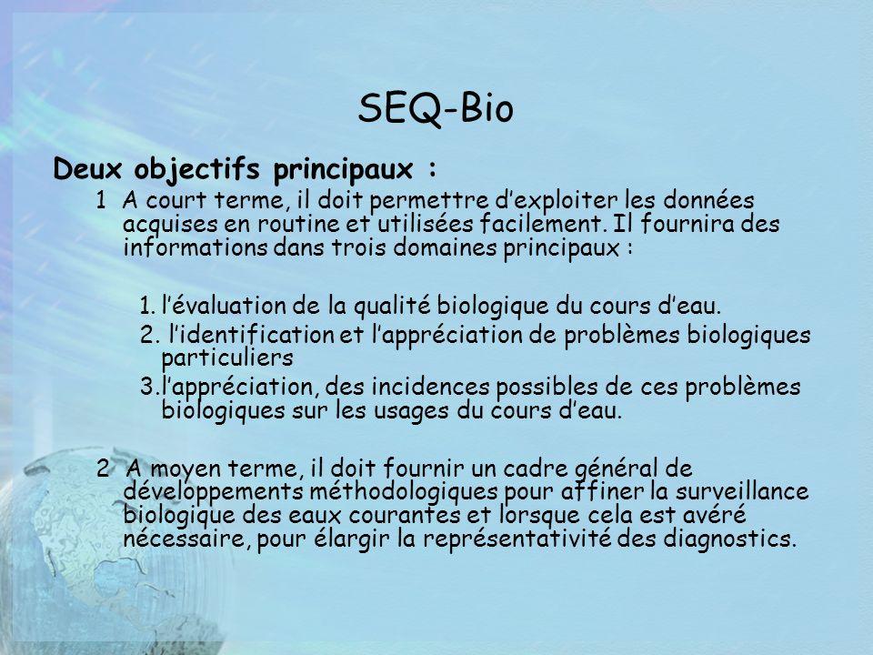 SEQ-Bio Deux objectifs principaux : 1 A court terme, il doit permettre dexploiter les données acquises en routine et utilisées facilement. Il fournira