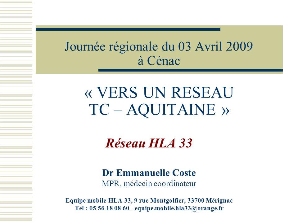 Particularités du réseau HLA33 -Critères de prise en charge : Adultes de moins de 75 ans lourdement handicapés (non sensoriel ni psychiatrique) vivant à domicile et en Gironde -Accès à 1 équipe mobile Composition :7 personnes 1 Médecin de MPR1 secrétaire 2 ergo (1.5 ETP) 1 coordinatrice administrative (0,5 ETP) 1 Assistante sociale 1 Psychologue (0.8 ETP) Journée réseau TC – 03 avril 2009