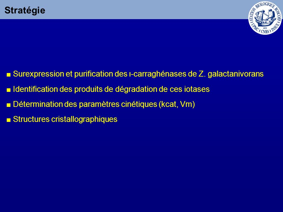 Stratégie Surexpression et purification des ι-carraghénases de Z. galactanivorans Identification des produits de dégradation de ces iotases Déterminat