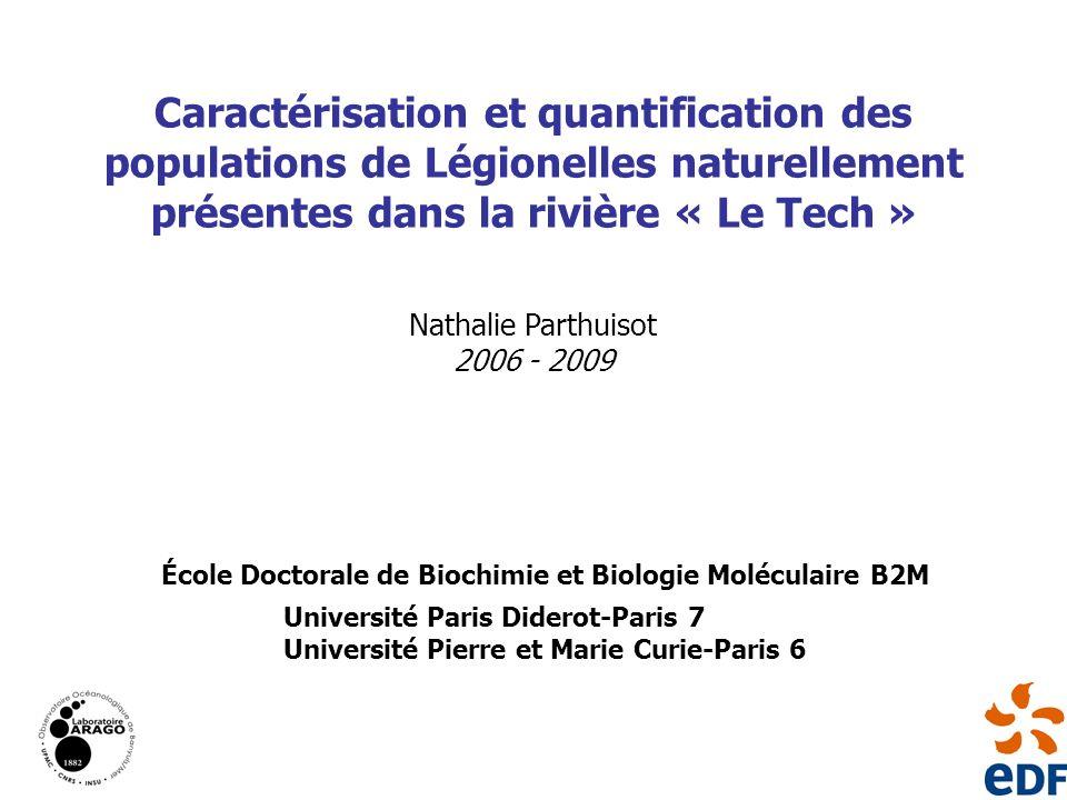Nathalie Parthuisot 2006 - 2009 Caractérisation et quantification des populations de Légionelles naturellement présentes dans la rivière « Le Tech » É