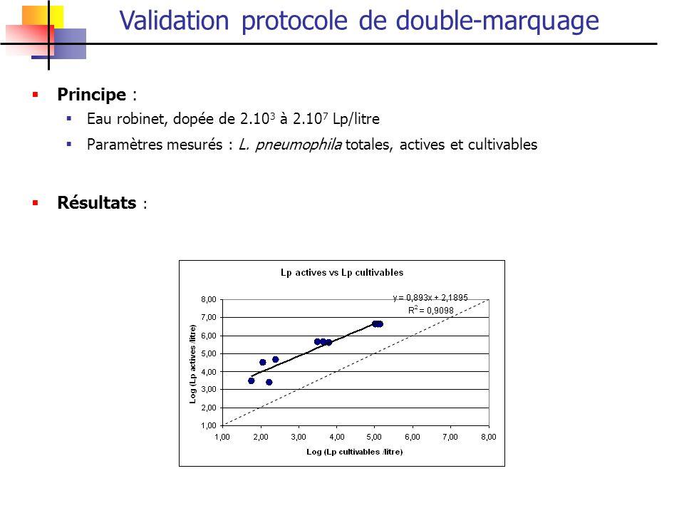 Validation protocole de double-marquage Principe : Eau robinet, dopée de 2.10 3 à 2.10 7 Lp/litre Paramètres mesurés : L. pneumophila totales, actives