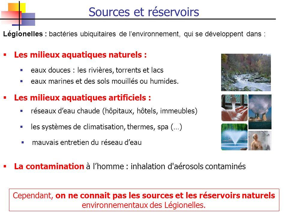 Légionelles : bactéries ubiquitaires de lenvironnement, qui se développent dans : La contamination à lhomme : inhalation d'aérosols contaminés eaux do