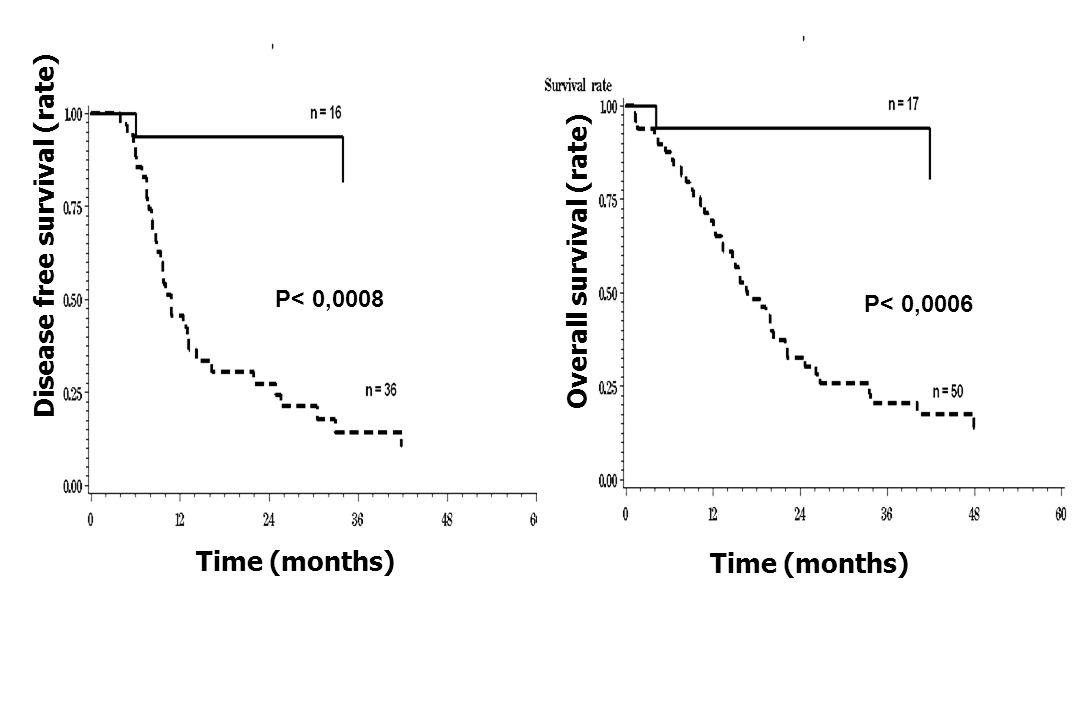 Disease free survival (rate) Time (months) Overall survival (rate) Time (months) P< 0,0008 P< 0,0006