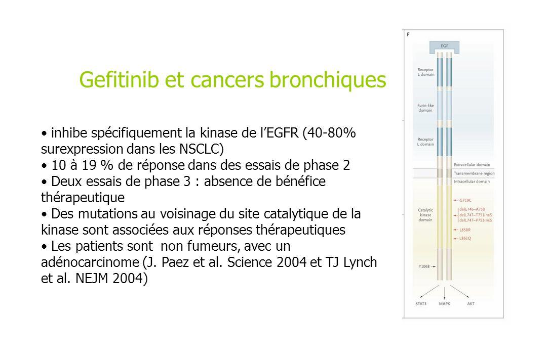 Gefitinib et cancers bronchiques inhibe spécifiquement la kinase de lEGFR (40-80% surexpression dans les NSCLC) 10 à 19 % de réponse dans des essais d