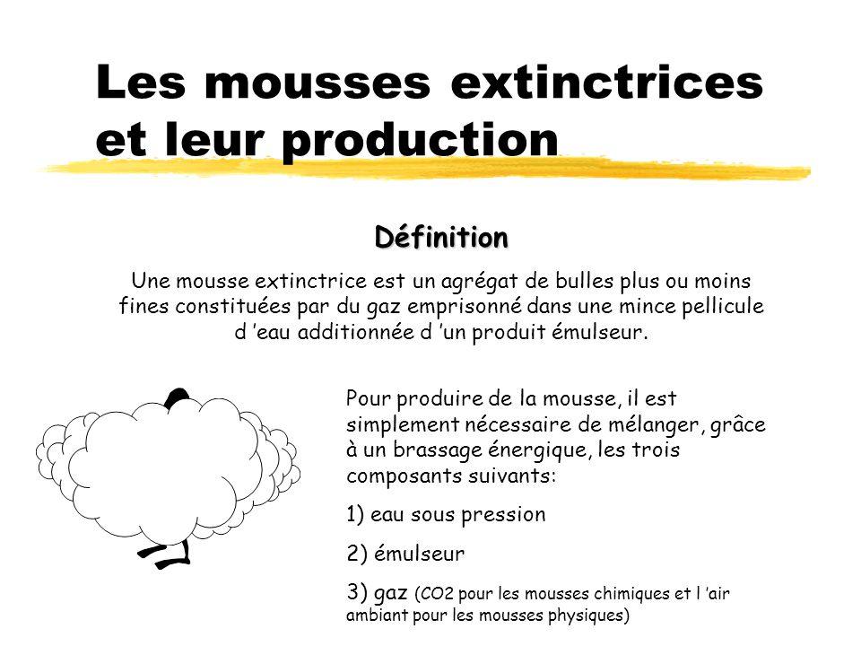Les mousses extinctrices et leur production Définition Une mousse extinctrice est un agrégat de bulles plus ou moins fines constituées par du gaz empr