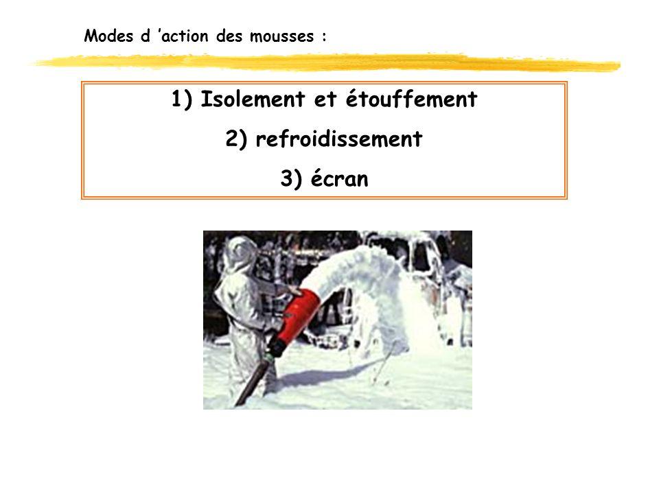 Modes d action des mousses : 1) Isolement et étouffement 2) refroidissement 3) écran
