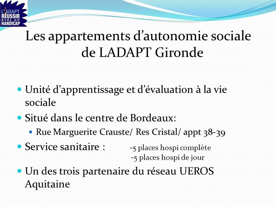 Les appartements dautonomie sociale de LADAPT Gironde Unité dapprentissage et dévaluation à la vie sociale Situé dans le centre de Bordeaux: Rue Marguerite Crauste/ Res Cristal/ appt 38-39 Service sanitaire : -5 places hospi complète -5 places hospi de jour Un des trois partenaire du réseau UEROS Aquitaine