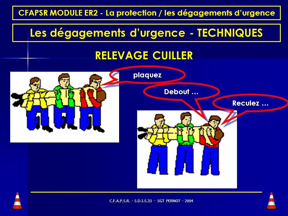 C.F.A.P.S.R. - S.D.I.S.33 - SGT PERNOT - 2004 CFAPSR MODULE ER2 - La protection / les dégagements durgence Les dégagements durgence - TECHNIQUES RELEV