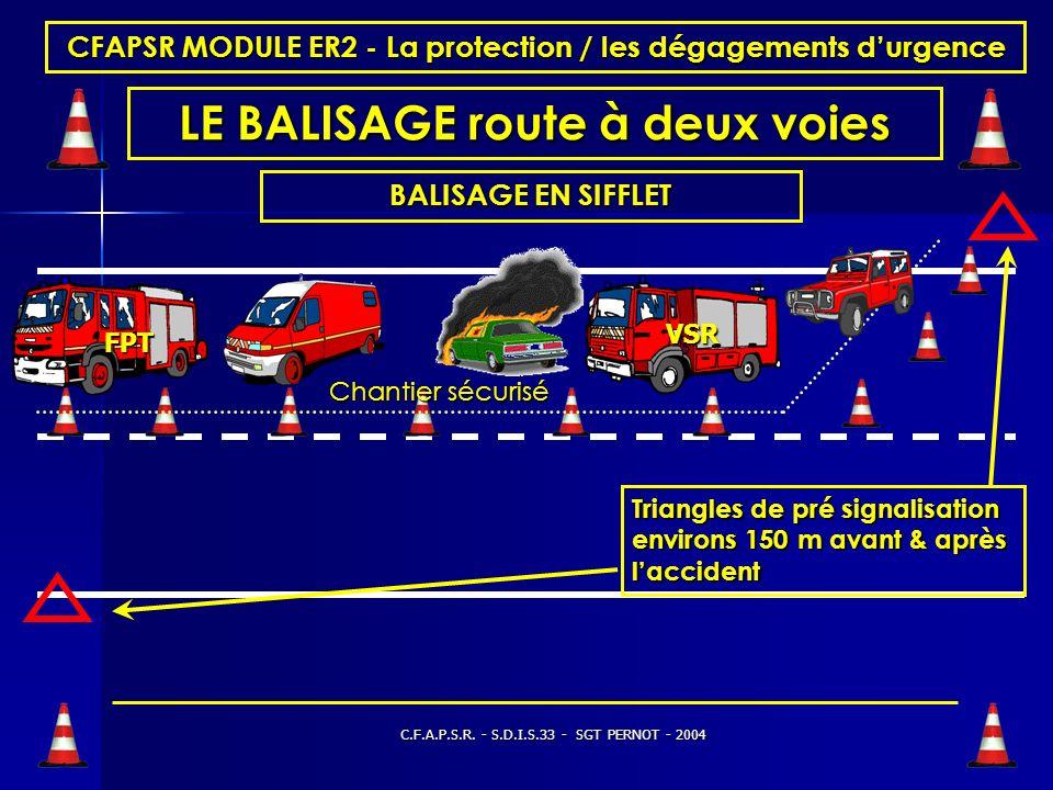 C.F.A.P.S.R. - S.D.I.S.33 - SGT PERNOT - 2004 CFAPSR MODULE ER2 - La protection / les dégagements durgence LE BALISAGE Action de poser des balises et