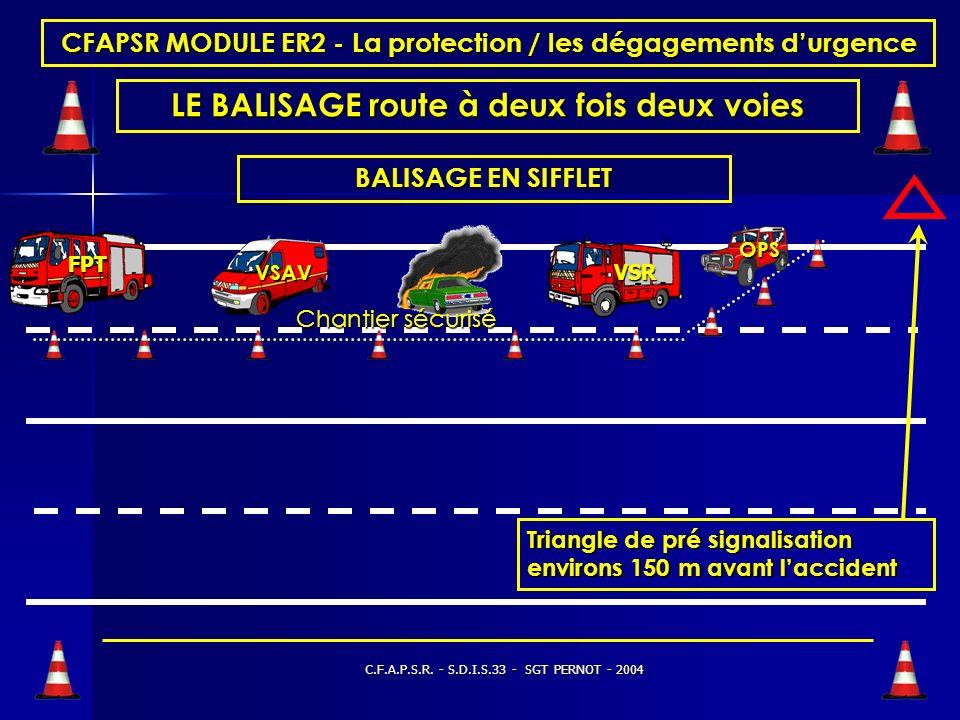 C.F.A.P.S.R. - S.D.I.S.33 - SGT PERNOT - 2004 CFAPSR MODULE ER2 - La protection / les dégagements durgence LE BALISAGE route à deux voies Triangles de