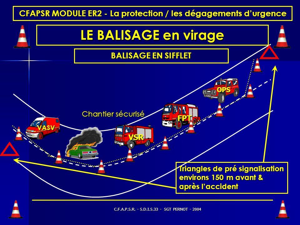 C.F.A.P.S.R. - S.D.I.S.33 - SGT PERNOT - 2004 CFAPSR MODULE ER2 - La protection / les dégagements durgence LE BALISAGE route à deux fois deux voies Tr