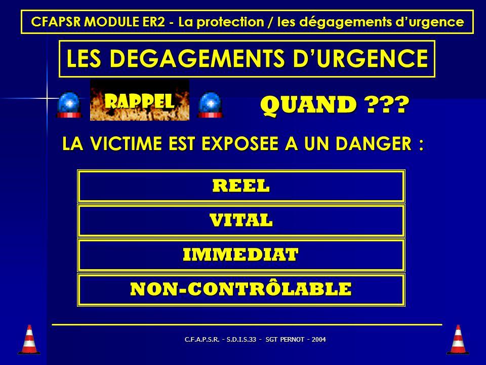 C.F.A.P.S.R. - S.D.I.S.33 - SGT PERNOT - 2004 CFAPSR MODULE ER2 - La protection / les dégagements durgence LE BALISAGE en virage BALISAGE EN SIFFLET F