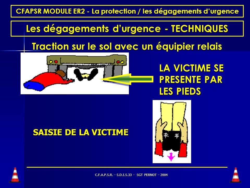 C.F.A.P.S.R. - S.D.I.S.33 - SGT PERNOT - 2004 CFAPSR MODULE ER2 - La protection / les dégagements durgence Les dégagements durgence - TECHNIQUES Tract