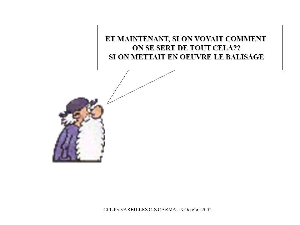 CPL Ph.VAREILLES CIS CARMAUX Octobre 2002 ET MAINTENANT, SI ON VOYAIT COMMENT ON SE SERT DE TOUT CELA?? SI ON METTAIT EN OEUVRE LE BALISAGE