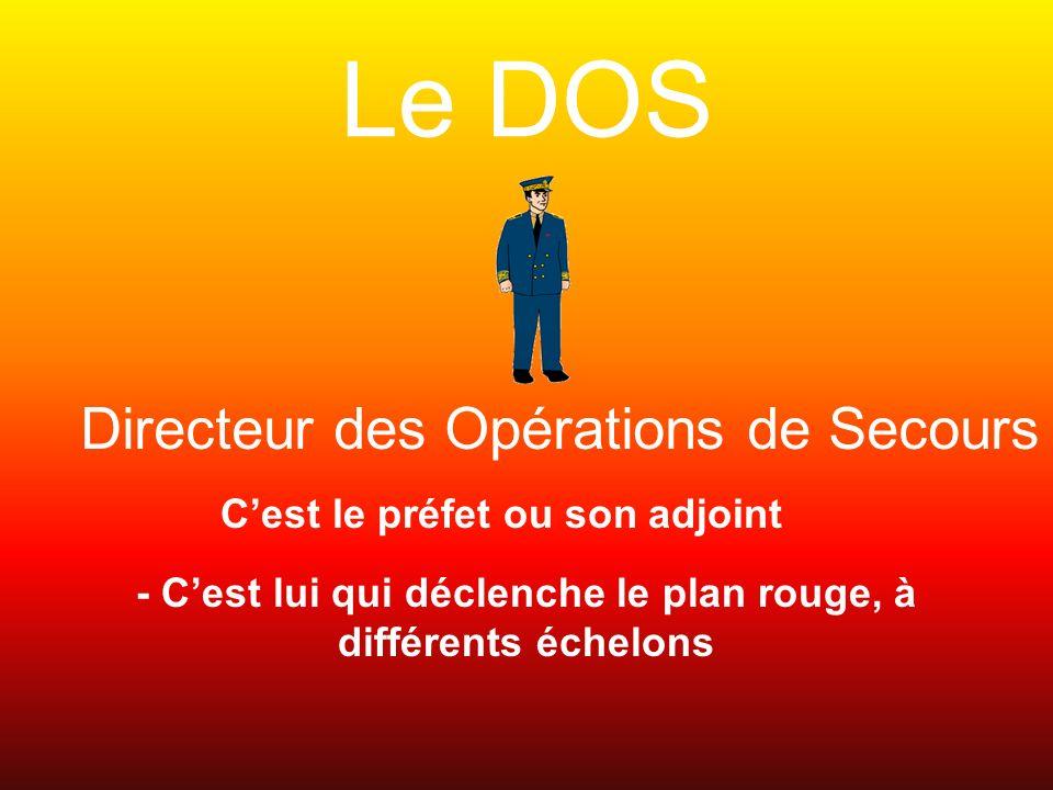 Le DOS Directeur des Opérations de Secours Cest le préfet ou son adjoint - Cest lui qui déclenche le plan rouge, à différents échelons