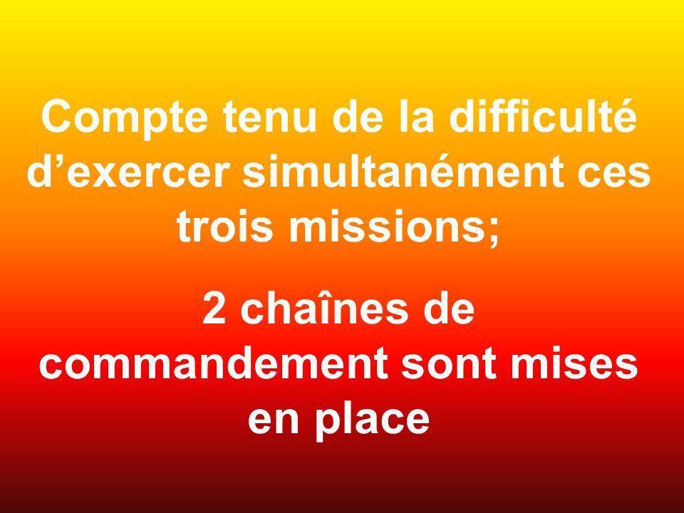 Compte tenu de la difficulté dexercer simultanément ces trois missions; 2 chaînes de commandement sont mises en place