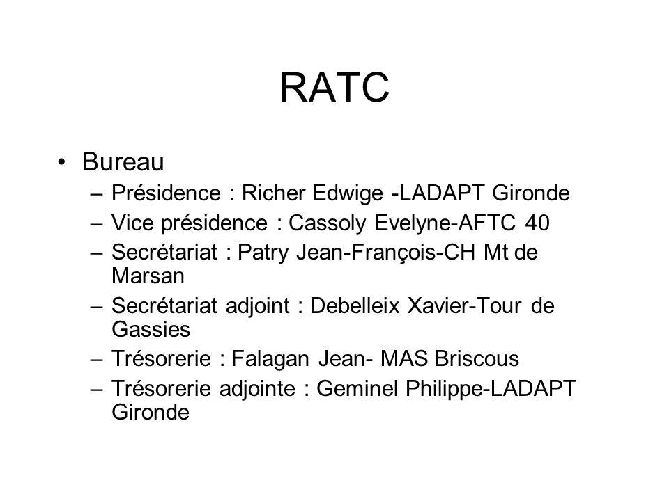 RATC Bureau –Présidence : Richer Edwige -LADAPT Gironde –Vice présidence : Cassoly Evelyne-AFTC 40 –Secrétariat : Patry Jean-François-CH Mt de Marsan