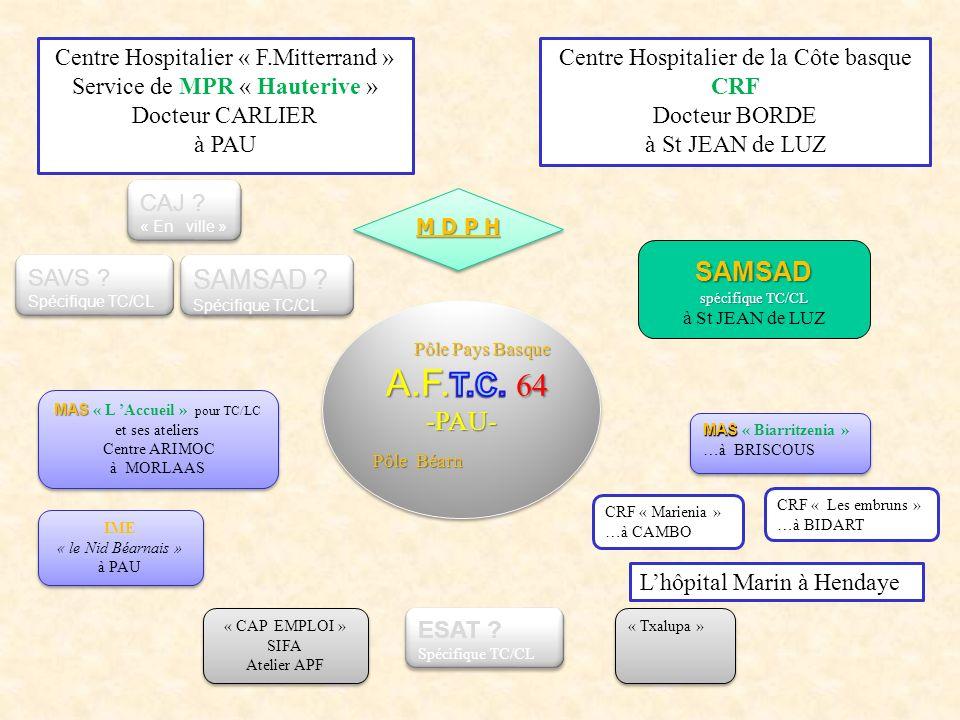 Centre Hospitalier « F.Mitterrand » Service de MPR « Hauterive » Docteur CARLIER à PAU Centre Hospitalier de la Côte basque CRF Docteur BORDE à St JEAN de LUZ MAS MAS « L Accueil » pour TC/LC et ses ateliers Centre ARIMOC à MORLAAS MAS MAS « L Accueil » pour TC/LC et ses ateliers Centre ARIMOC à MORLAAS M D P H « CAP EMPLOI » SIFA Atelier APF « CAP EMPLOI » SIFA Atelier APF IME « le Nid Béarnais » à PAU IME « le Nid Béarnais » à PAU SAMSAD spécifique TC/CL à St JEAN de LUZ MAS MAS « Biarritzenia » …à BRISCOUS MAS MAS « Biarritzenia » …à BRISCOUS CRF « Marienia » …à CAMBO CRF « Les embruns » …à BIDART « Txalupa » SAMSAD .