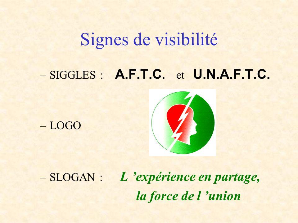 –SIGGLES : A.F.T.C. et U.N.A.F.T.C. –LOGO –SLOGAN : L expérience en partage, la force de l union Signes de visibilité