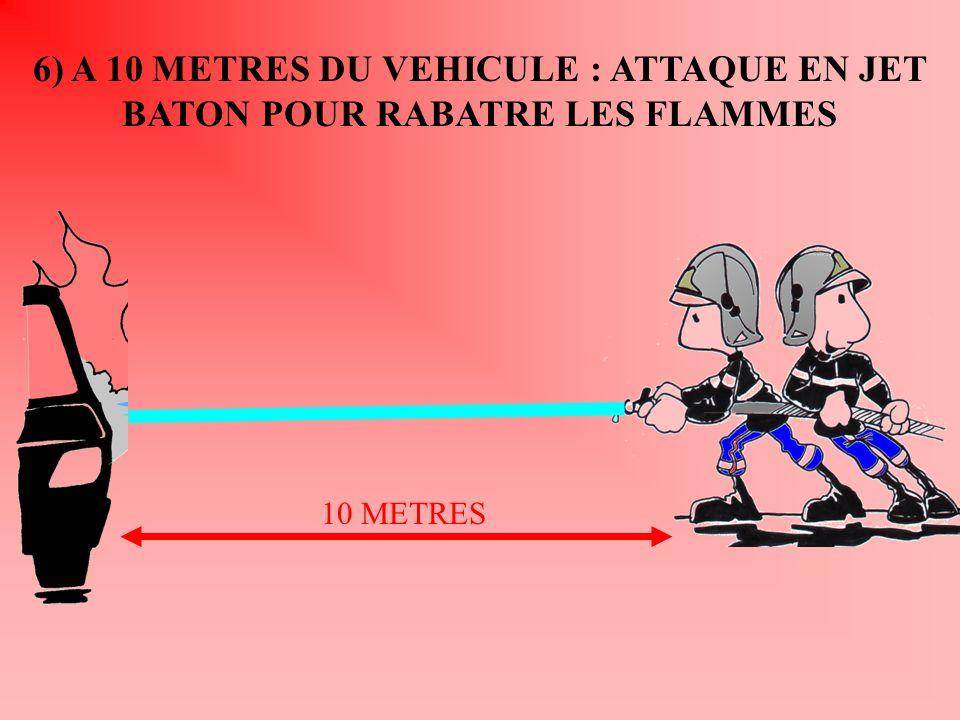 6) A 10 METRES DU VEHICULE : ATTAQUE EN JET BATON POUR RABATRE LES FLAMMES 10 METRES