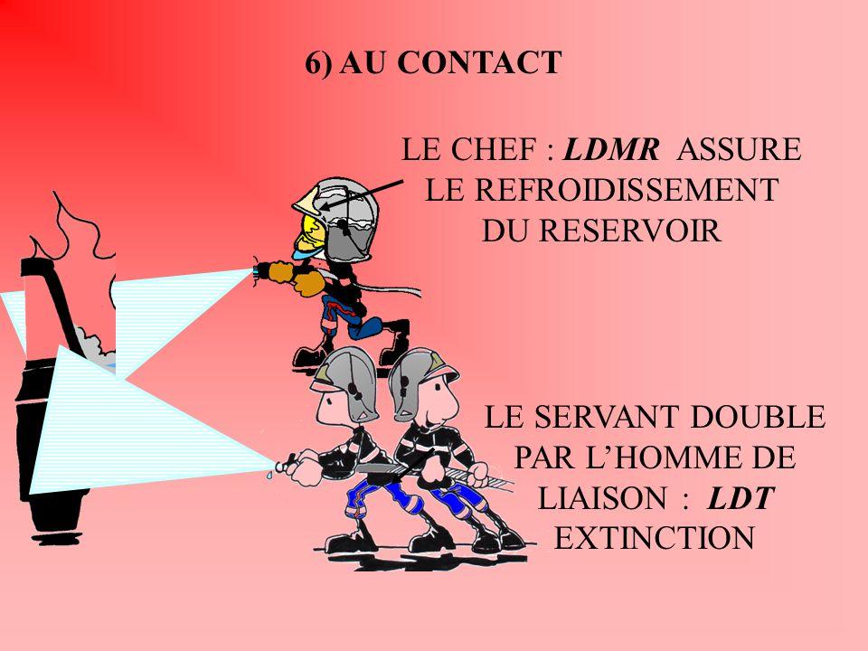 6) AU CONTACT LE CHEF : LDMR ASSURE LE REFROIDISSEMENT DU RESERVOIR LE SERVANT DOUBLE PAR LHOMME DE LIAISON : LDT EXTINCTION