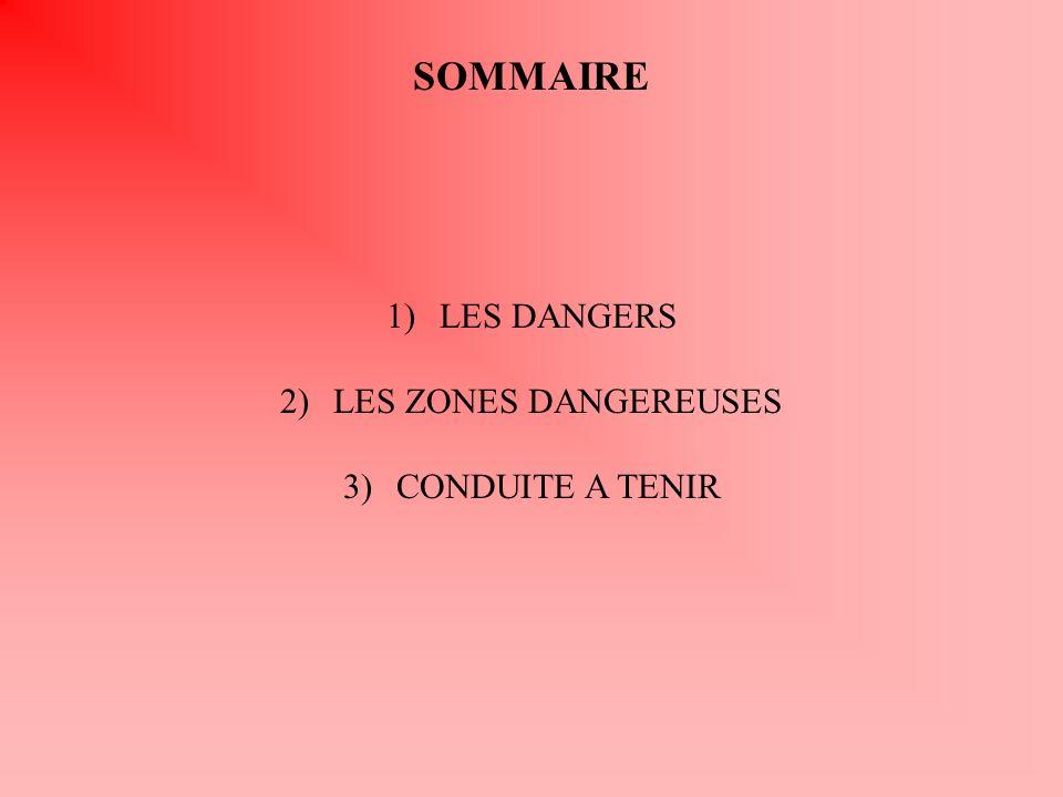 SOMMAIRE 1)LES DANGERS 2)LES ZONES DANGEREUSES 3)CONDUITE A TENIR