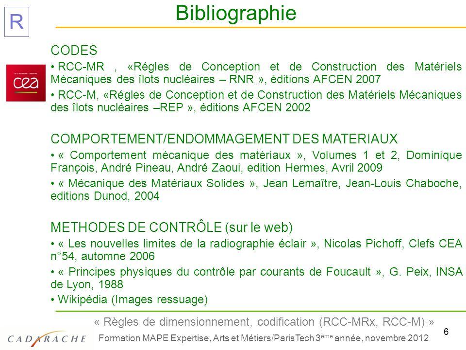 6 « Règles de dimensionnement, codification (RCC-MRx, RCC-M) » Formation MAPE Expertise, Arts et Métiers/ParisTech 3 ème année, novembre 2012 R CODES