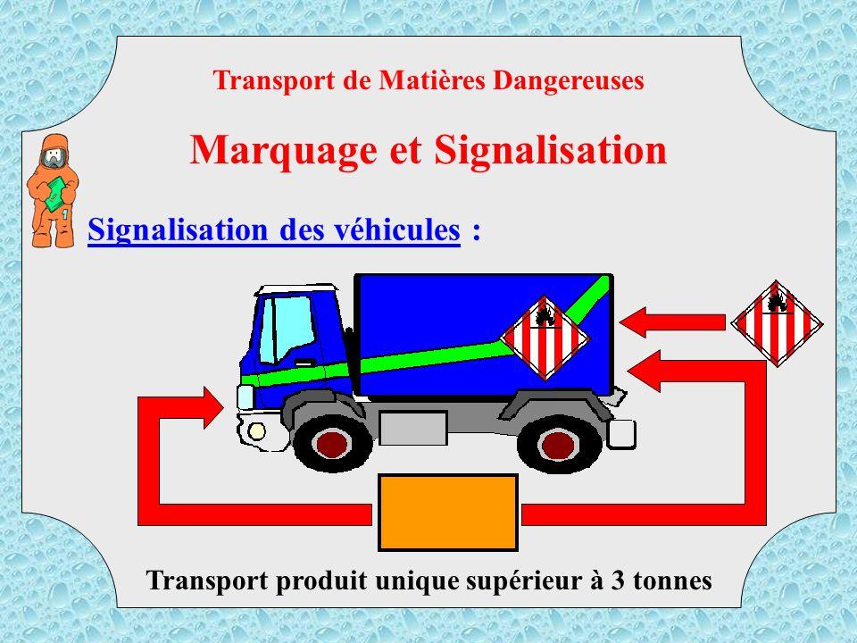 Signalisation des véhicules : Transport de marchandises conditionnées Transport de Matières Dangereuses Marquage et Signalisation TMD
