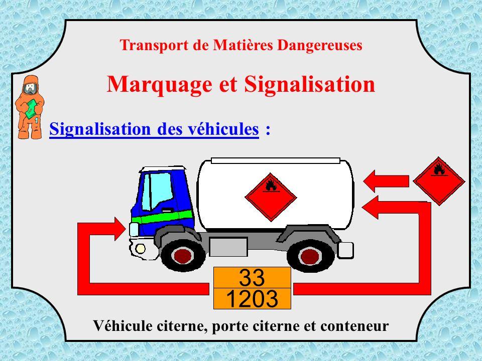 Transport de plusieurs produits supérieur à 3 tonnes Transport de Matières Dangereuses Marquage et Signalisation TMD Signalisation des véhicules :