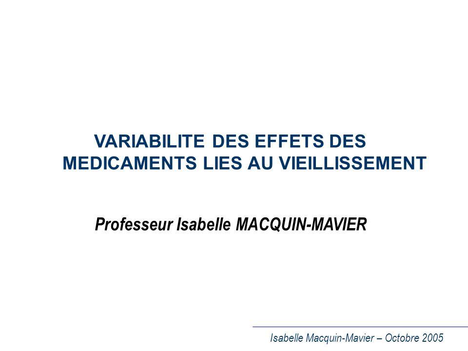Isabelle Macquin-Mavier – Octobre 2005 MODIFICATIONS PHARMACODYNAMIQUES CHEZ LE SUJET AGE (I) I -Réduction de lactivité des mécanismes physiologiques homéostatiques +++ – Activité du système nerveux autonome Conséquences multiples 1) cardiovasculaires : hypotension orthostatique ( +++ ) 2) viscérales : mobilité intestinale : ileus sphincter vésical : rétention urinaire, incontinence 3) œil : glaucome – Activité des mécanismes de thermorégulation: hypothermie, ex.