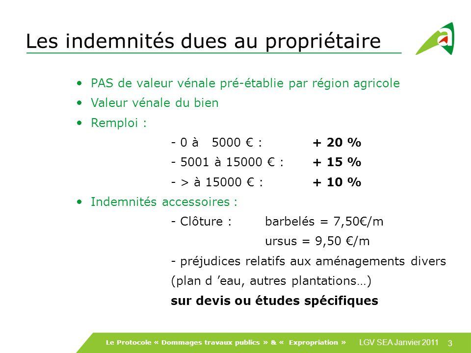 LGV SEA Janvier 2011 3 Le Protocole « Dommages travaux publics » & « Expropriation » Les indemnités dues au propriétaire PAS de valeur vénale pré-établie par région agricole Valeur vénale du bien Remploi : - 0 à 5000 :+ 20 % - 5001 à 15000 :+ 15 % - > à 15000 : + 10 % Indemnités accessoires : - Clôture :barbelés = 7,50/m ursus = 9,50 /m - préjudices relatifs aux aménagements divers (plan d eau, autres plantations…) sur devis ou études spécifiques