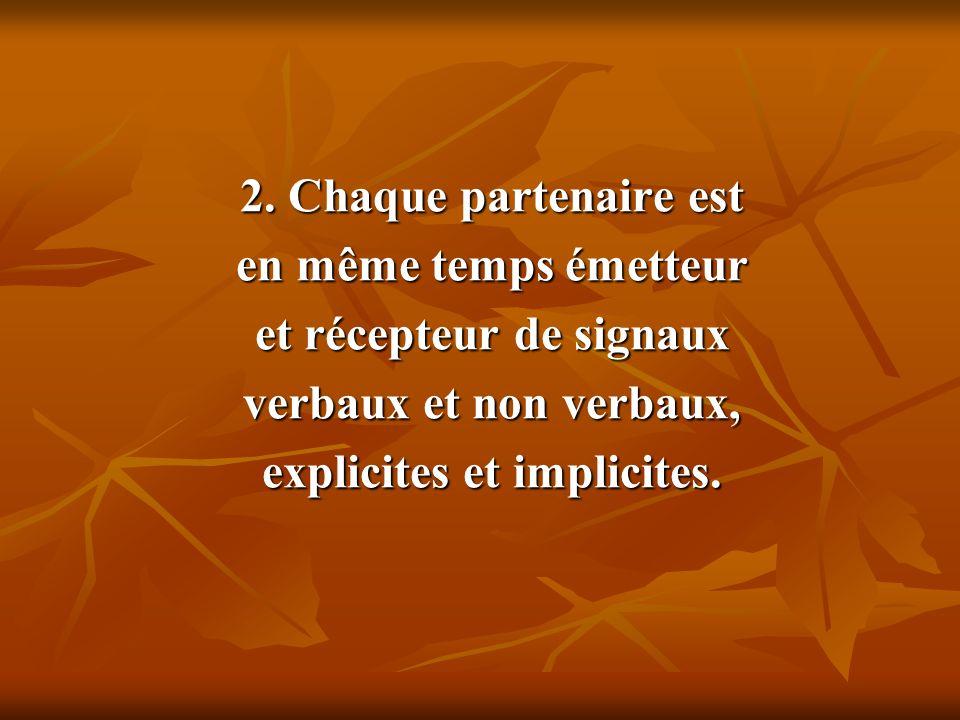 2. Chaque partenaire est en même temps émetteur et récepteur de signaux verbaux et non verbaux, explicites et implicites.